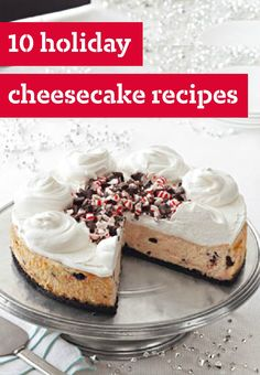 10 Holiday Cheesecake Recipes – There's a cheesecake recipe for every dessert occasion! We have an entire cheesecake center to help you sort through your choices—from chocolate, strawberry, and pumpkin cheesecakes to no-bake versions and cheesecake for all seasons!
