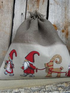 Scandinavian Nordic Christmas Gift bag Drawstring Cotton Reusable Gift  Bag Gnome Elf Tomte Nisse Gift Wrap