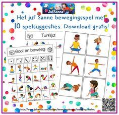 Een gratis download met bewegingskaarten en 10 spelsuggesties op de site jufsanne.com
