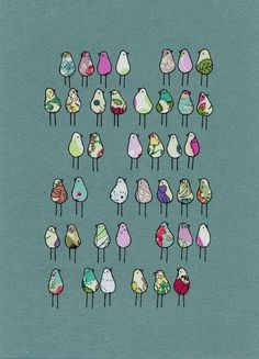 Birds in Lines ~ Lila Ruby King  I love the simplicity of her work, happy to say I own some!