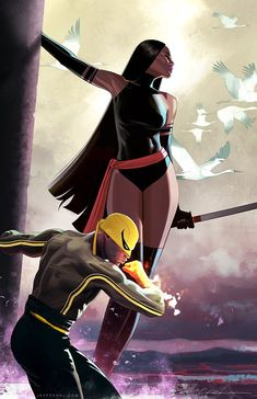 Psylocke and Iron Fist Marvel Comics Marvel Dc Comics, Heros Comics, Marvel Art, Marvel Heroes, Rogue Comics, Batman Art, Batman Robin, Captain Marvel, Comic Book Characters