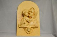 Terracotta bas-relief Bas-relief in terracotta painted in oil. Wooden base also painted #artigianato #madeinitaly