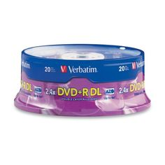 Preferred by DVD drive manufacturers, Verbatim DVD media continues to set the standard for high speed disc performance, reliability, and compatibility. DVD+R Double Layer nearly doubles the storage capacity with two AZO recording layers on a single-sided disc. Certified and supported by the industry high speed Double Layer writers, Verbatim discs are approved for high-speed burning. Store up to 8.5GB of video in approximately 15 minutes or less while maintaining compatibility