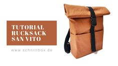 Rucksack tutorial, Rucksack Rolltop nähen - YouTube Couture, Purses And Bags, San, Sewing, Backpack Purse, Blue Prints, Fabric, Accessories, Bags Sewing