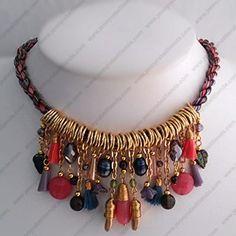 Collar Aros Dijes Rosa/Colores