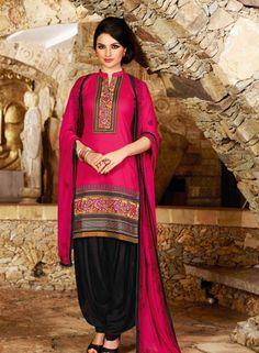 Magenta Embroidered Punjabi Patiala salwar suit in cotton D15454