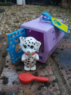 """This was my very first """"littlest pet."""" Happy Puppy and Puppy Carrier - vintage Kenner littlest pet shop toys"""