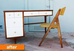 Before & After: Sabrina's From Damaged to Daring Modern Desk Makeover | Apartment Therapy