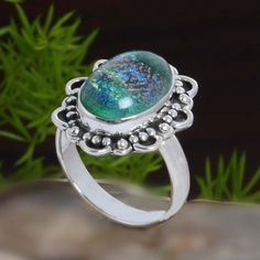925 STERLING SILVER DICHORIC GLASS EXCLUSIVE RING 5.76g DJR10847 SZ-7 #Handmade #Ring
