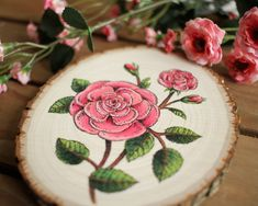 — Etching-Inspired Flowers Painted on Wood Slices ...
