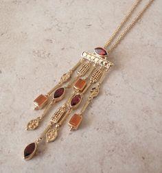 Mexican Opal Necklace Vermeil Sterling Garnet by cutterstone