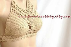 Crochet Tank Top Halter Bikini Halter Top Crop by senoAccessory