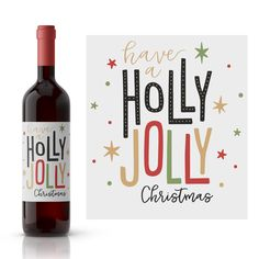 christmas wine label  custom wine label  holiday party favor  christmas gift ideas  it/'s the most wonderful time of the year  WLH-12