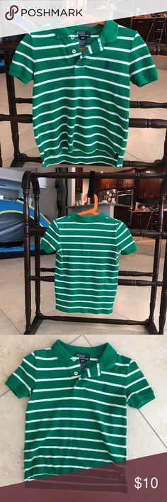 Green white stripped Ralph Lauren  polo shirt sz 4 Guc - EUC bundle and save 20h on 3 or more ! See my love notes and shop with confidence ! Super cute and prefect for spring month as elk! Polo by Ralph Lauren Shirts & Tops Polos