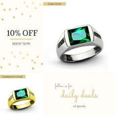 Today Only! 10% OFF this item.  Follow us on Pinterest to be the first to see our exciting Daily Deals. Today's Product: Emerald Ring for Men, Sterling Silver Statement Ring, Men's Emerald Ring with Black Onyx, Green Gemstone Ring, Silver Ring 6 to 15 sz Buy now: https://www.etsy.com/listing/462939624?utm_source=Pinterest&utm_medium=Orangetwig_Marketing&utm_campaign=emerald%20rings   #livecolorfully #jewelrylover #menwithstyle #liveauthentic #musthave #shoplocal #handmadewithlove…