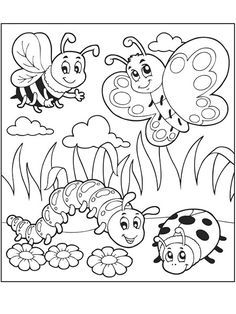 Spring bug coloring pages Insect Coloring Pages, Detailed Coloring Pages, Spring Coloring Pages, Easter Coloring Pages, Coloring Pages For Girls, Flower Coloring Pages, Free Coloring Pages, Coloring Books, Coloring Sheets