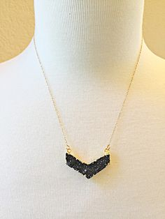 A personal favorite from my Etsy shop https://www.etsy.com/listing/254125678/chevron-druzy-crystal-necklace-with-14k