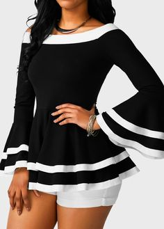 Black Off the Shoulder Flare Sleeve Layered Blouse Love the sleeves, so slimming. Great Summer look but can easily be changed into a Fall and Winter look Black Bell Sleeve Top, Black And White Tuxedo, Sewing Blouses, Trendy Tops For Women, Over 50 Womens Fashion, Elegant Outfit, Trendy Dresses, Plus Size Tops, Pretty Outfits