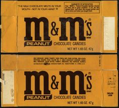m&m's Vintage package. chocolate candies, peanuts.