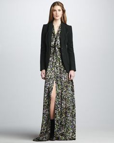 Kenny Suit Jacket & Astrid Bishop-Sleeve Gown by Rachel Zoe at Neiman Marcus.