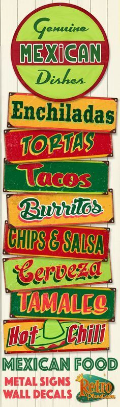 Mexican Restaurant Kitchen Signs, Wall Decals & More. Some of our Sign & Decal Sayings: Genuine Mexican Dishes, Tacos, Burritos, Chips and Salsa