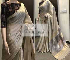 Hand Embroidered Linen Saree With Woven Pallu And Ajrak Printed Blouse. Indian Dresses, Indian Outfits, Indian Clothes, Desi Clothes, Ethnic Sarees, Indian Sarees, Kerala Saree, Casual Saree, Formal Saree
