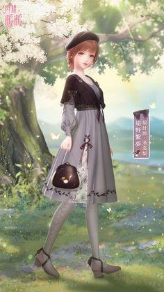 Anime Girl Dress, Anime Art Girl, Cartoon Girl Drawing, Girl Cartoon, Star Fashion, Girl Fashion, Anime Girl Crying, Manhwa, Strawberry Dress