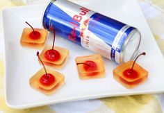 Redbull and Vodka Jello Shots - easy to pick up with the little cherry stems