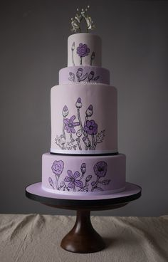 Beautiful Cake Pictures: Lilac Cake with Lilac Hand Painted Flowers - Purple Cakes, Wedding Cakes - Whimsical Wedding Cakes, Purple Wedding Cakes, Wedding Cake Designs, Lilac Wedding, Gorgeous Cakes, Pretty Cakes, Cute Cakes, Amazing Cakes, Sweet Cakes
