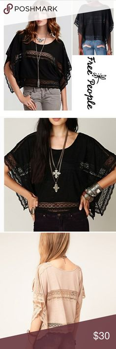 Free people lace insert crop top Like new! Lace insert top! 75% polyester 25% rayon. Oversized top. Free People Tops Crop Tops