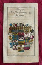 HERALDIK WAPPEN DES KURFÜRSTEN ZU SACHSEN ALTKOLORIERTER KUPFERSTICH TRIER 1714