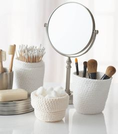 "#DIY Crochet Storage ""Jars"" - Perfect for storing make-up or beauty supplies 