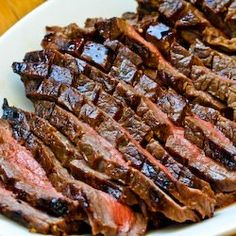 Marinated Flank Steak : balsamic vinegar, lemon juice, Dijon, Worcestershire sauce, garlic, dried oregano, dried basil, dried thyme, and smoked paprika, whisk in olive oil and marinate meat for at least 8 hrs.