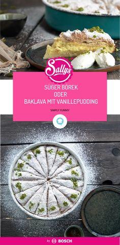 Home-made sweet borek with custard. Original Turkish recipes from Sally Borek Recipe, Turkish Baklava, Gourmet Recipes, Healthy Recipes, Vegetable Prep, Turkish Recipes, Food Print, Cravings, Food And Drink