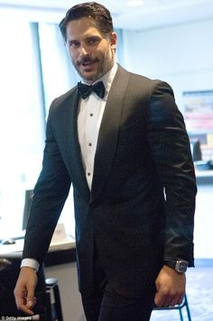 Joe Manganiello looked dapper in a black suit and bow tie...