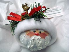 Santa Ornament ChristmasTree Bulb Hand Painted Glass Themed with Rudolph