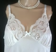 "Vintage Lace Slip Dress 1990s Ivory Nylon  Nightie Vintage Lingerie Full Slip Women's 90s Unterkleid Lace Nightgown Bust 40"" by RadicalMaudVintage on Etsy"