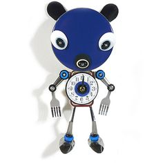 """Culinary Creature Clock : Big Head Bear. Culinary objects discover new life as a work of imaginative functional art for your wall. Handmade with reclaimed kitchen treasures, the engaging Big Head Bear clock provides the perfect touch of unconventional merriment! A 6"""" blue metal canister serves as the charming oversized head, a recycled Altoids tin as the body, and reclaimed stainless steel silverware forms the arms and legs. Clock sculpture is individually artist-crafted in Massachusetts."""