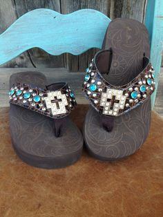 Cowgirl Clad Company - Brown Flip Flop with Cross and Turquoise-6, $34.00 (http://www.cowgirlclad.com/brown-flip-flop-with-cross-and-turquoise-6/)
