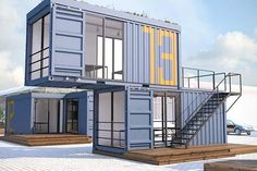 Container House 60 projects prices photos and tips Create external accesses and circulations Container Home Designs, Sea Container Homes, Container Shop, Building A Container Home, Prefabricated Houses, Prefab Homes, Modular Homes, New House Plans, House Floor Plans