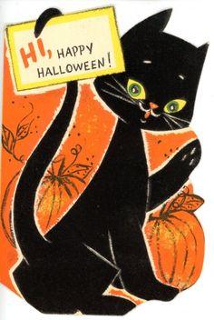 vintage hallmark die cut halloween greeting card felted black cat 1480 - Vintage Halloween Witches