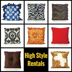 Creative and designer party pillows and rugs on rent.