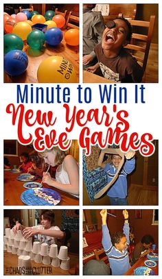 Ring in the New Year with laughter with these Minute to Win It New Year's Eve games. Easy to set up with simple supplies. Fun for all ages. Perfect for parties or family fun. New Year's Eve Games For Family, Family New Years Eve, New Years Eve Games, New Year's Games, New Years Eve Party, Family Games, Group Games, Family Family, Fun Games For Teenagers