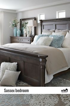 Real Value. Casual yet traditional, the Sussex panel bedroom is elegantly finished in rich, taupe gray over solid rubberwood. Taupe Bedroom, Wood Bedroom Sets, Home Decor Bedroom, Teen Bedroom, Cherry Wood Bedroom, Brown Master Bedroom, Bedroom Ideas, King Bedroom Sets, Master Bedroom Makeover