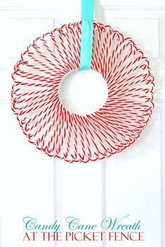 Candy Cane Wreath by At the Picket Fence and other great DIY Christmas decoratio., Candy Cane Wreath by At the Picket Fence and other great DIY Christmas decorations. Easy Christmas Crafts, Noel Christmas, Christmas Projects, Simple Christmas, All Things Christmas, Winter Christmas, Christmas Wreaths, Christmas Decorations, Christmas Candy