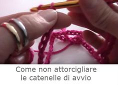 non-attorcigliare-catenelle-avvio Crochet Crafts, Friendship Bracelets, Lana, Camilla, Crochet Necklace, Necklaces, Creativity, Friend Bracelets