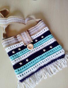 navy striped bag