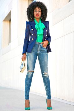 That green shirt and huge tie with a blaser.I'm dying Double Breasted Blazer + Front Tie Blouse + High Waist Jeans Mode Outfits, Fall Outfits, Casual Outfits, Fashion Outfits, Womens Fashion, Denim Fashion, Fashion Photo, Summer Outfits, Casual Chic