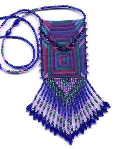 Finished, Beaded Purple View Amulet Bag by Dragon (Also available in pattern & kit).