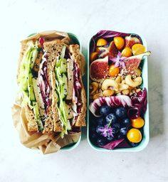 bento for today. Sandwich with smoked tofu, raddichio, iceberg lettuce, cucumber. Vegan Lunches, Healthy Snacks, Healthy Eating, Junk Food, Vegetarian Recipes, Healthy Recipes, Vegan Meal Prep, Love Food, Whole Food Recipes